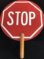 Vintage Metal & Wood Crossing Guard/Highway Worker Handheld Stop/Slow Sign