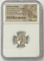 Marcus Aurielius AD 161-180 Silver Denarius NGC Mint State Issued as Caesar