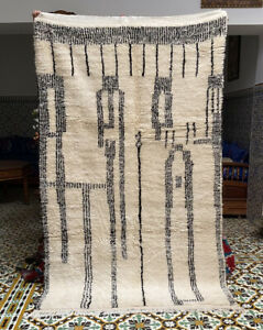 Moroccan Beni Ourain Medium Rug Handwoven 100% Wool 8ft4''x 4ft9''/low Pile/soft