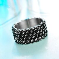 Silver black vintage style ring stainless steel knitting pattern solid band