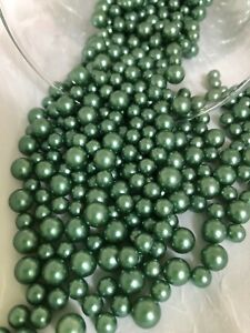 Sage Green Pearl Confetti, Table Pearl Scatters, vintage vase filler pearls