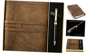 Premium Leather Journal Gift Set – Black Lacquer & 24K 7 x 5 Inch Gift Set