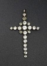 Ancienne croix regionale Provençale argent et strass XIXeme