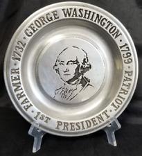 "1st POTUS George Washington PATRIOT FARMER PRESIDENT 1799 6"" Pewter Plate"