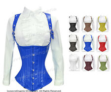26 Double Steel Boned Leather Waist Training Underbust Shaper Corset #H8028-LE