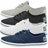 Henleys Men's Milo New Canvas Trainers Lace Up Summer Beach Shoes Plimsoles