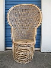 vtge tall peacock wicker fan back chair shabby chic cottage victorian rattan tan