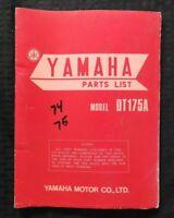 1974 1975 YAMAHA 175cc MODEL DT175A DT175B MOTORCYCLE PARTS CATALOG MANUAL NICE