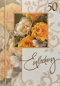 5 Einladungskarten Zur Goldhochzeit / Goldene Hochzeit Mit Umschlag, Einladung