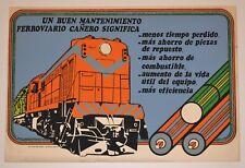 1978 Original Cuban Poster.Railroad Machine WorkShop.Maintenance board.Train art