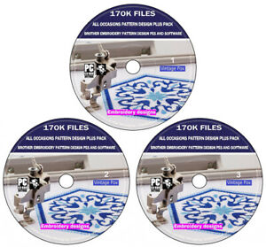 170,000 All Occasion Brother Embroidery Pattern Design Pack + Software PC DVD