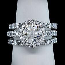 14k White Gold Diamond Halo Fine Rings
