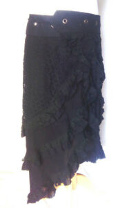 Gorgeous black pixie lace Wrap skirt steampunk freesize hippie psy gypsy boho