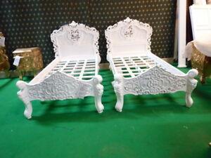 BESPOKE 3' Single size Diamond White French  Rococo Bed carved mahogany wood