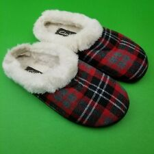 Clark's Black Red Plaid Lined Women's Mules Slides Style Slippers Size 10  36388