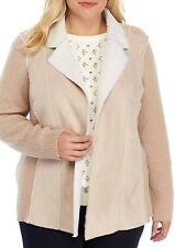 ALFRED DUNNER Plus Size 18W, 20W Eskimo Kiss Sherpa Sweater Jacket NWT $82