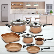 10 Piece Pan Set Copper Cookware Saucepan Nonstick Stainless Steel Cooking Grill