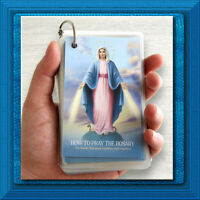 HOW to PRAY ROSARY Set LARGE Key Ring 27 Different LAMINATED Holy Prayer Cards