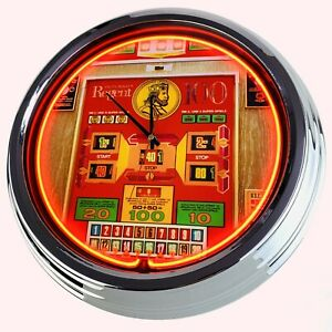 "N0810 Wanduhr ""Geldspielautomat Regent 100 Rotomat Wulff 1975"" Neonuhr Game Room"