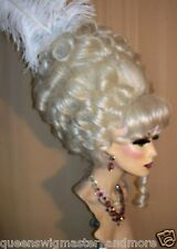 Drag Queen Wig Extra Big Marie Antoinette Silver Blonde Up Do Curls Fr. Tw Bangs