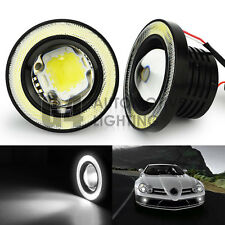 "2x 3.5"" Round LED Fog Light Projector Lamp 7000K White Angel Eyes DRL Halo Ring"