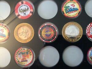 Casino Silver $10 Gaming Token + Poker Chips Display Frame / ohne Inhalt