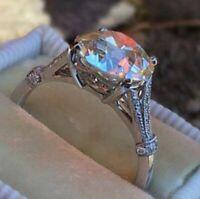 Luxus Schmuck Silber Farbe  Runde Zirkon 10mm Hochzeit Finger Ring (24C)
