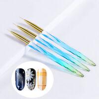 3Pcs/set UV Gel Nail Art Brush Polish Painting Pen Kit For Salon Manicure DIY