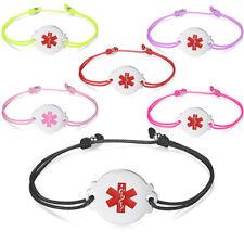 Medical ID Bracelets for Women Adjustable Cord Diabete / Allergy Id Bracelets