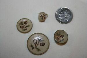 Miniature Dollhouse Jane Graber Pottery Pinecone Plates Mug Bowl Placesetting NR