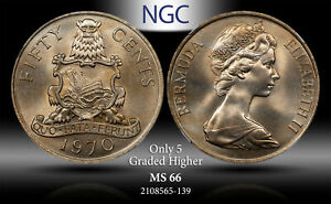 1970 BERMUDA 50 CENTS NGC MS 66 ONLY 5 GRADED HIGHER ! REGISTRY QUALITY