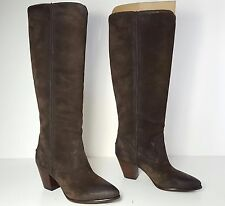 $378 size 7 Frye Renee Seam Tall Charcal Leather Heels Boots Womens Shoes