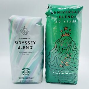 Starbucks Whole Bean Organic Coffee Odyssey & Anniversary Blend New Sealed