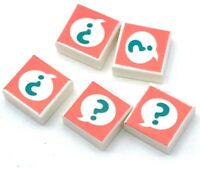Lego 5 New White Tiles 1 x 1 with Groove Dark Turquoise Question Mark in Speech