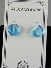 Alex and Ani Sterling Silver Aquamarine Swarovski Crystal Drop Earrings