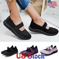 Women's Casual Breathable Black Soled Hand-woven Shoes Lightweight Slip On Flats