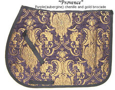 "STUNNING  ""PURPLE GOLD"" CHENILLE BROCADE  ENGLISH SADDLE PAD - baroque"