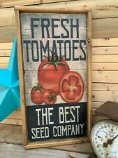 Antique Style Rustic 12x24 Fresh Tomatoes Heavy Wooden Sign Top Quality !!