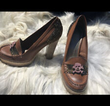 1 of kind Brown rhinestone glitter loafer heels.  Skull, Unique. Size 10