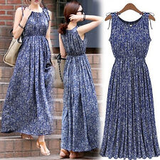Women Boho Floral Sleeveless Long Dress Summer Maxi Party Skirt Lyric Deluxe