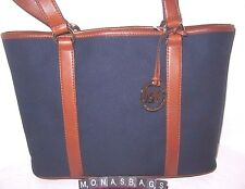 Michael Kors Canvas & Leather Navy Luggage Large EW Summer Tote Bag NWT $228