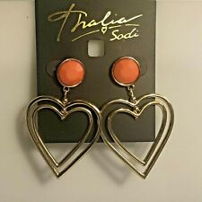 "Thalia Sodi Women's Earrings Gold-Tone & Stone Double Heart Drop Pink 1.75"" NEW"