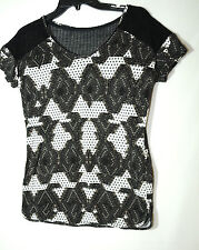 BLACK WHITE LADIES CASUAL PARTY TOP MESH BACK NEXT 10