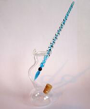 Glasfüller Glasfeder Türkis mit klarem Tintenfass im Set Glasfedern