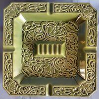 "MCM Japan Large Ashtray Green Glaze, Floral Pattern 10"" Square Ceramic COOL!"