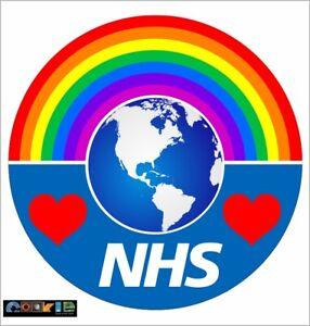 Rainbow love the NHS Blue Sticker - 190mm x 190mm   - NON PROFITABLE - No. 87