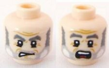 LEGO - Minifig, Head Dual Sided Gray Beard & Eyebrows, Crow's Feet - (Gibbs)
