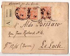 1906 REGNO 15x2CENTESIMI+SINGOLO SU ASSICURATA DA MISIANO PER LA SVIZZERA C/5916