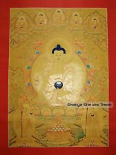 "43"" x 32.5"" Medicine Buddha Gold Tibetan Buddhist Thangka Scroll Painting Nepal"