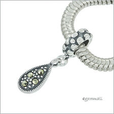 Sterling Silver with Marcasite Flat Teardrop Charm Fit European Bracelet #94110